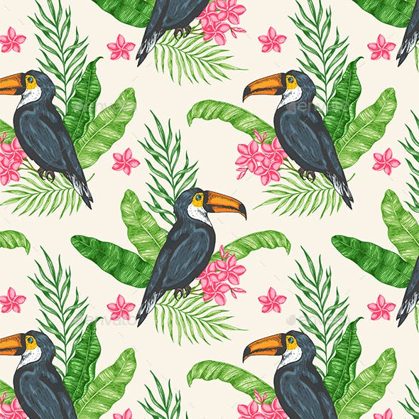 Pattern with Toucan and Green Leaves