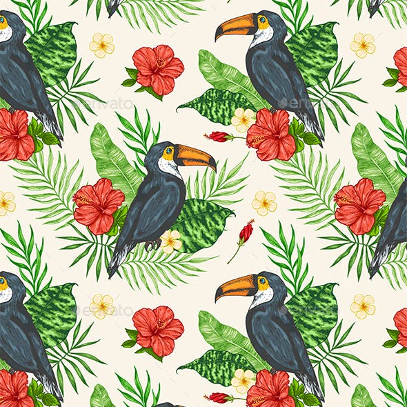 Tropical Seamless Pattern with Toucan