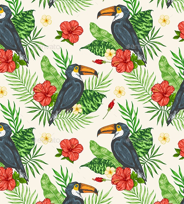 Tropical Seamless Pattern with Toucan - Patterns Decorative