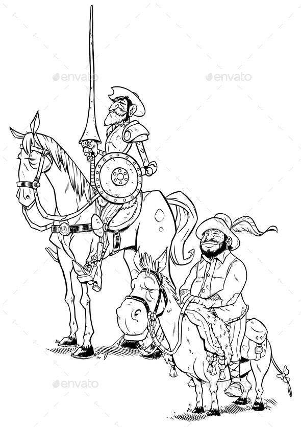Don Quixote and Sancho Panza on White - Miscellaneous Vectors