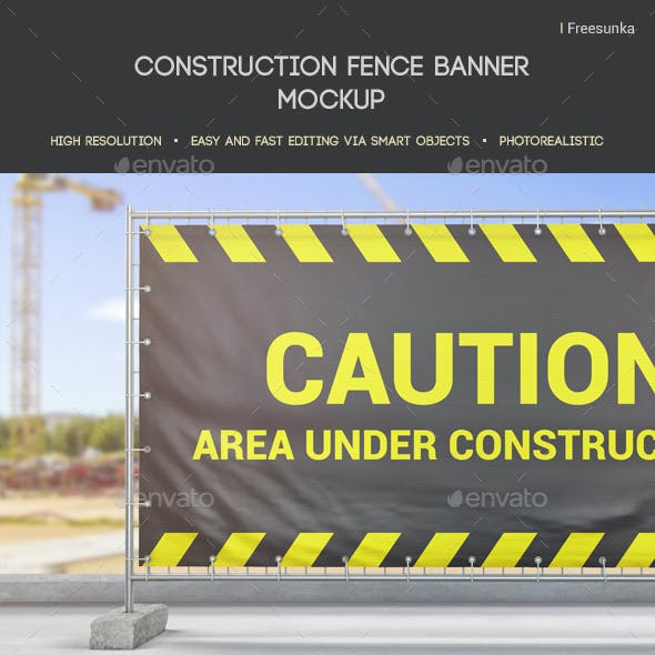 Construction Fence Banner Mockup