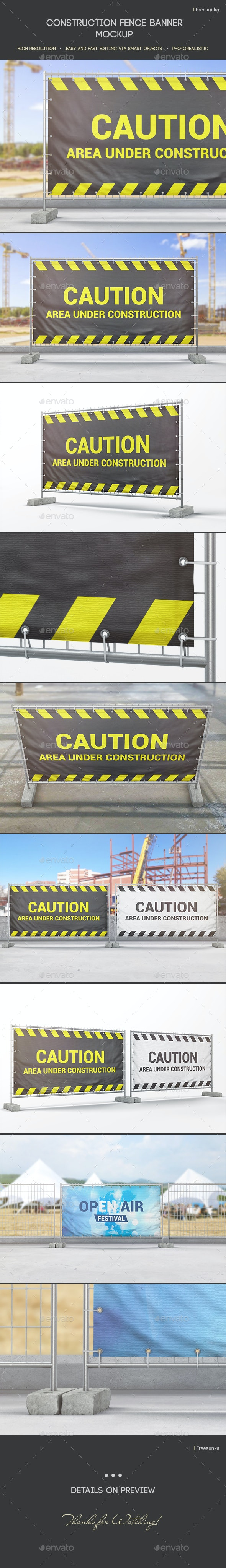 Construction Fence Banner Mockup - Miscellaneous Print