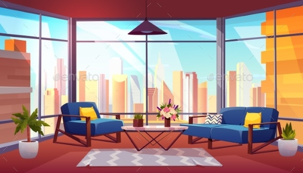 Hotel Suite in Skyscraper Cartoon Vector Interior - Buildings Objects