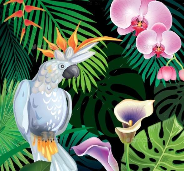 Background with Tropical Jungle Plants - Flowers & Plants Nature