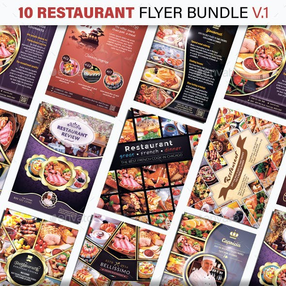 10 Restaurant Flyer Bundle - v.1