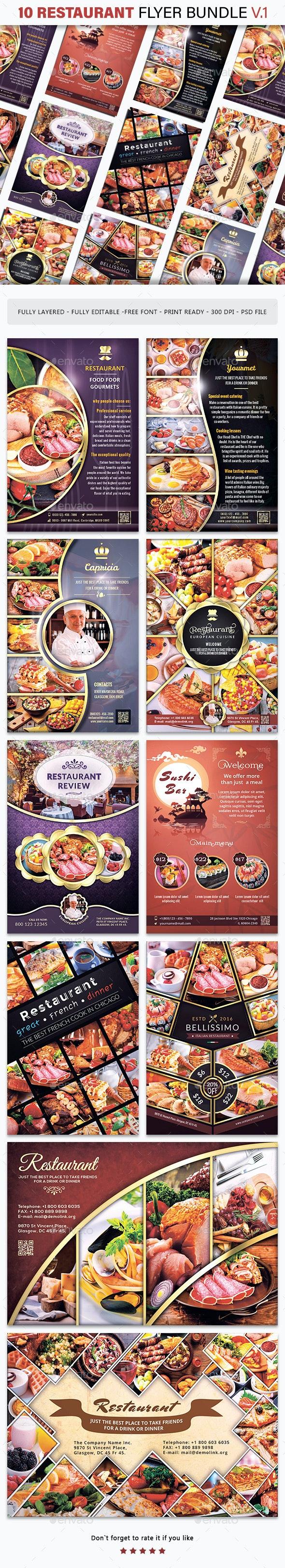 10 Restaurant Flyer Bundle - v.1 - Restaurant Flyers