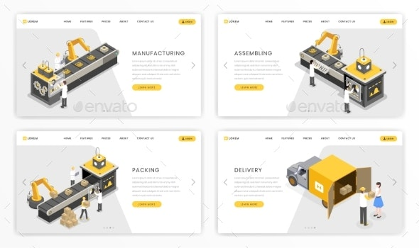 Company Industrial Process Landing Page Template - Industries Business