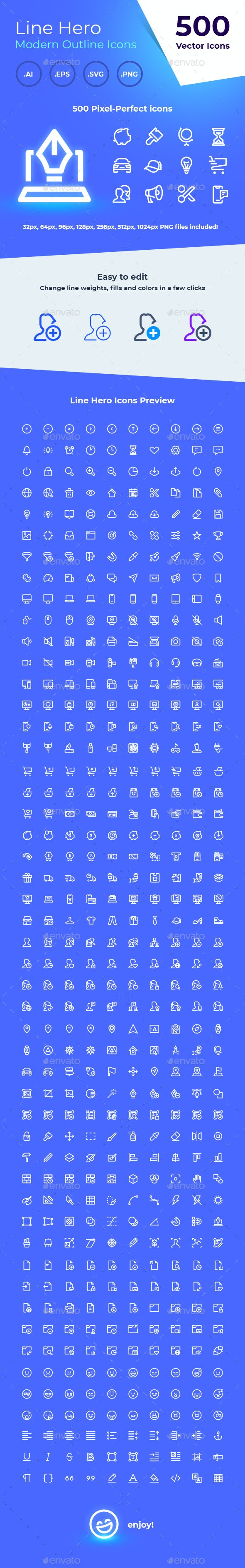 500 icons - Line Hero icon Pack - Icons