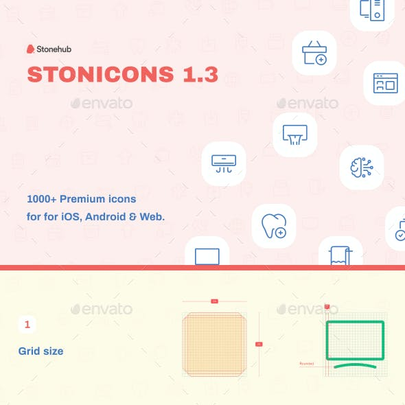 1000+ Stonicons1.3 - UI Design Vector Icons Pack