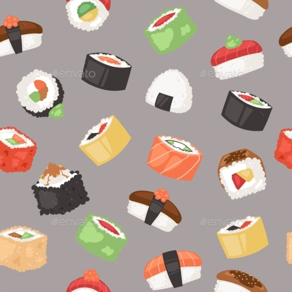 Sushi Seamless Pattern Vector Illustration - Food Objects