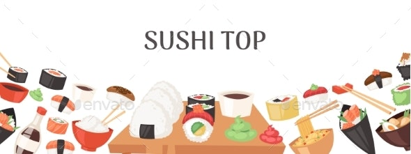 Sushi Top Banner, Poster Vector Illustration - Food Objects