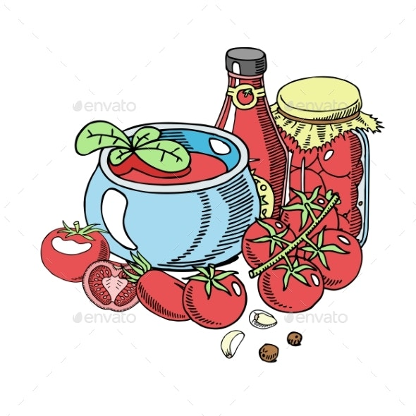 Tomatoes Organic Sauce Background Banner Vector - Food Objects