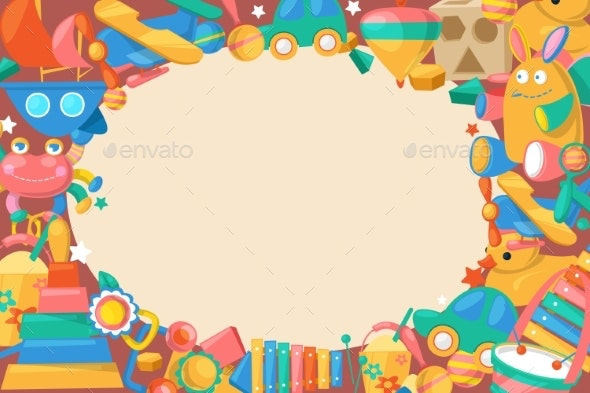 Toy Collection for Babies Big Background Banner - Objects Vectors