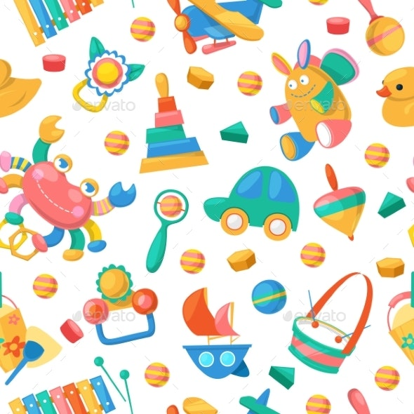 Toy Collection for Babies Seamless Pattern Vector - Objects Vectors