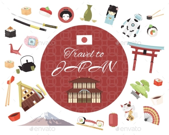 Travel To Japan Banner Vector Illustration - Buildings Objects
