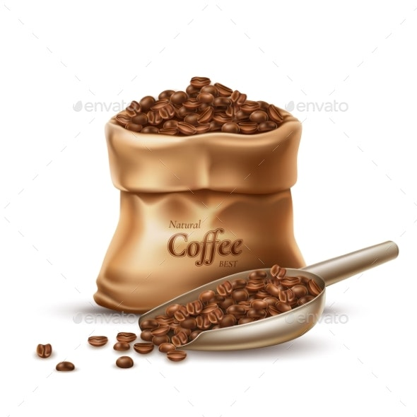 Vector Realistic Coffee Sack with Scoop and Beans - Food Objects