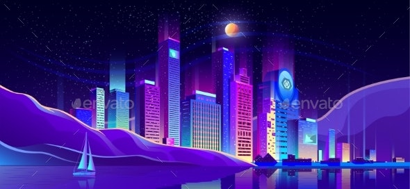 Future Metropolis on Ocean Shore Vector Background - Buildings Objects