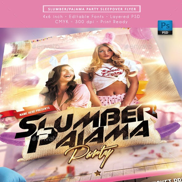Slumber Pajama Party Sleepover Flyer
