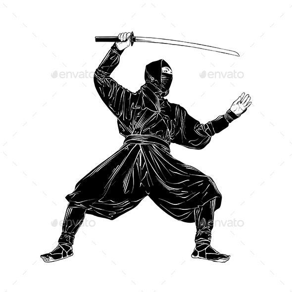 Hand Drawn Sketch of Japanese Ninja - People Characters