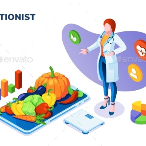 Nutritionist with Vegetables on Plate and Scales.