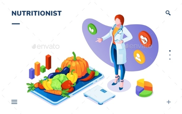 Nutritionist with Vegetables on Plate and Scales. - Food Objects