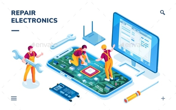 Isometric Page for Electronics Repair Service - Technology Conceptual