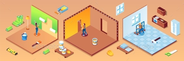 Rooms of Apartment with Workers During Repair - Buildings Objects