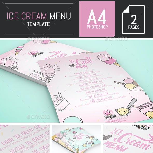 Illustrations Ice Cream A4 Menu / Flyer Template