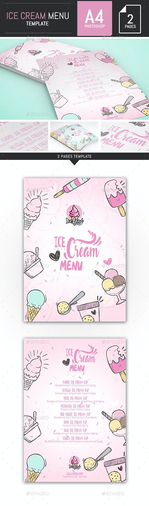 Illustrations Ice Cream A4 Menu / Flyer Template - Food Menus Print Templates