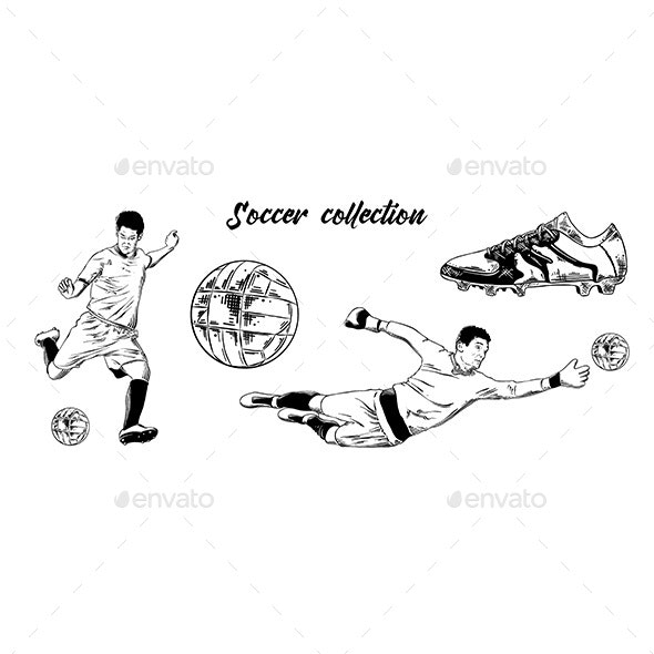 Sketch Set of Soccer Football Players - Sports/Activity Conceptual