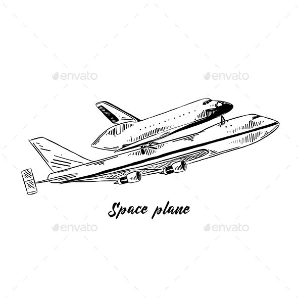Hand Drawn Sketch of Space Plane - Man-made Objects Objects