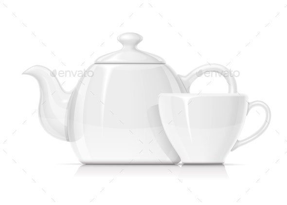 Ceramic Teapot and Cup - Man-made Objects Objects