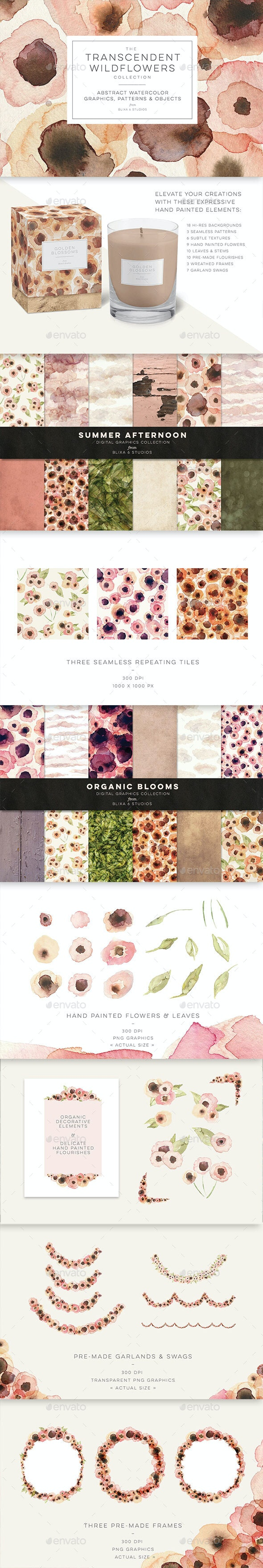 The Transcendent Wildflowers Collection of Digital Graphics - Nature Backgrounds