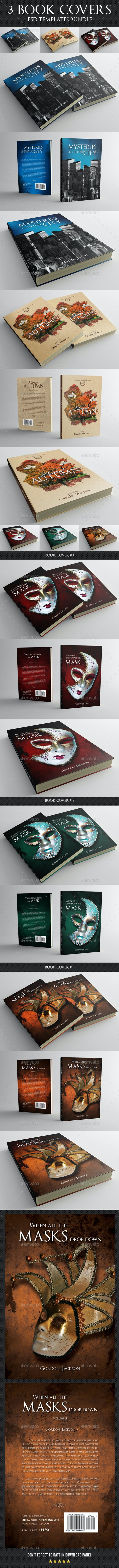 3 in 1 Book Cover Template Bundle 14 - Miscellaneous Print Templates