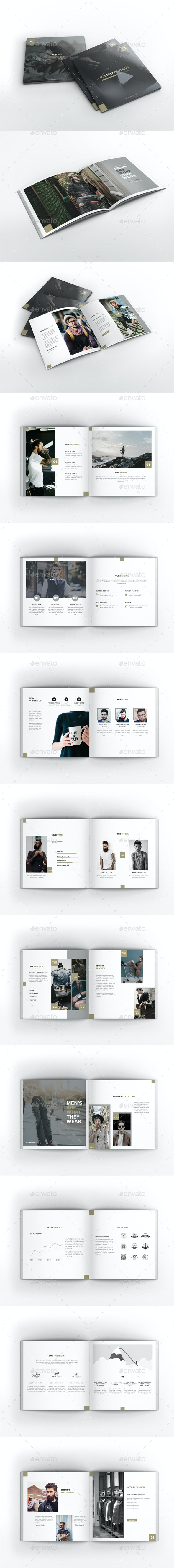 Man Fashion Square Brochure Template - Brochures Print Templates