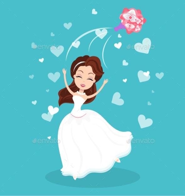 Bride Throwing Flowers, Wedding Ceremony Vector - Business Conceptual