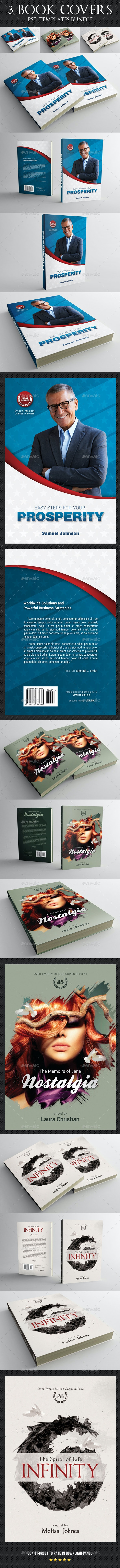 3 in 1 Book Cover Template Bundle 15 - Miscellaneous Print Templates