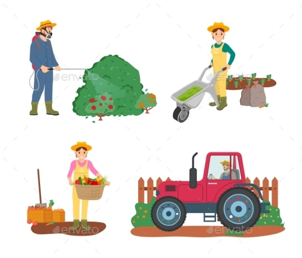 Farming People Tractor Driver and Woman Harvesting - Business Conceptual
