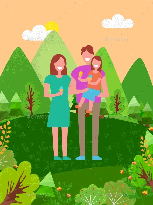 Happy Family Smiling, Father and Mother Daughter - Nature Conceptual
