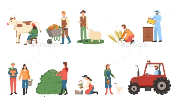 Farmers Working, Man and Woman Harvesting People - Business Conceptual