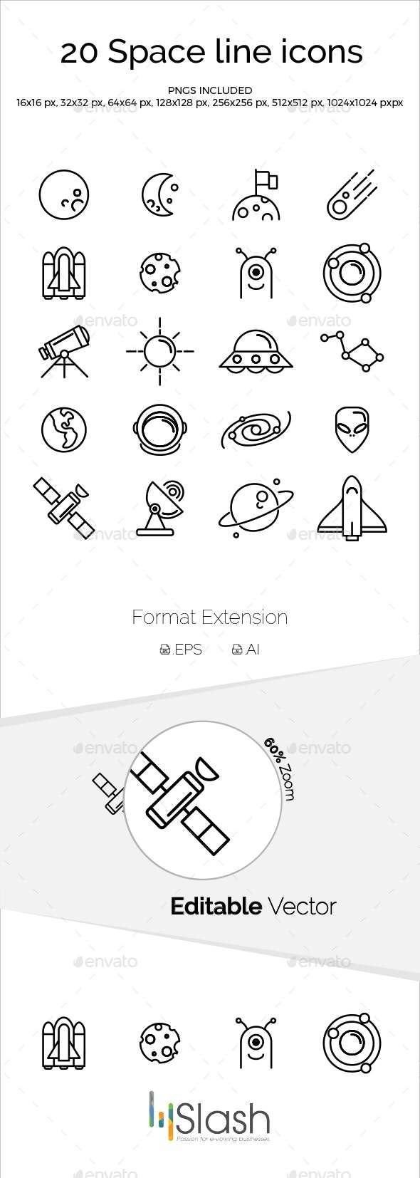 Space Line Icons - Objects Icons