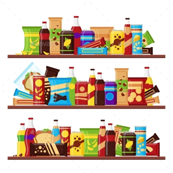 Snack Product Set on the Shelves - Food Objects
