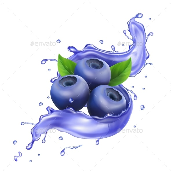 Blueberry in Juice Splash Pure Vector Illustration - Food Objects