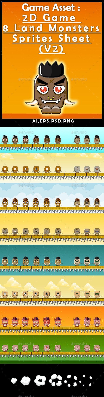 Game Asset :2D Game 8 Land Monsters Sprites Sheet (V2) - Sprites Game Assets