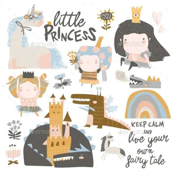 Set of Little Princesses, Dragons and Magic - People Characters