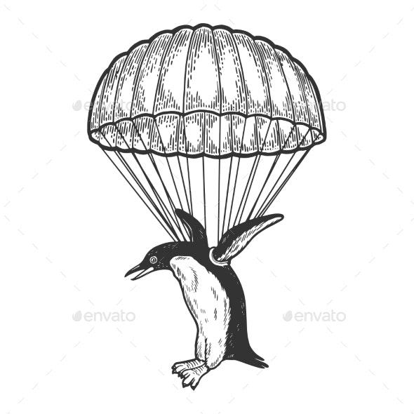 Penguin Bird Fly with Parachute Sketch Vector - Sports/Activity Conceptual