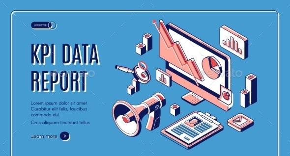 KPI Data Report Isometric Landing Page - Media Technology
