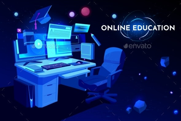 Online Education Banner Cartoon Vector - Miscellaneous Vectors