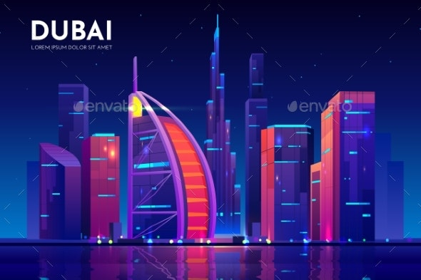 Dubai City with Arab Hotel Skyline UAE - Buildings Objects