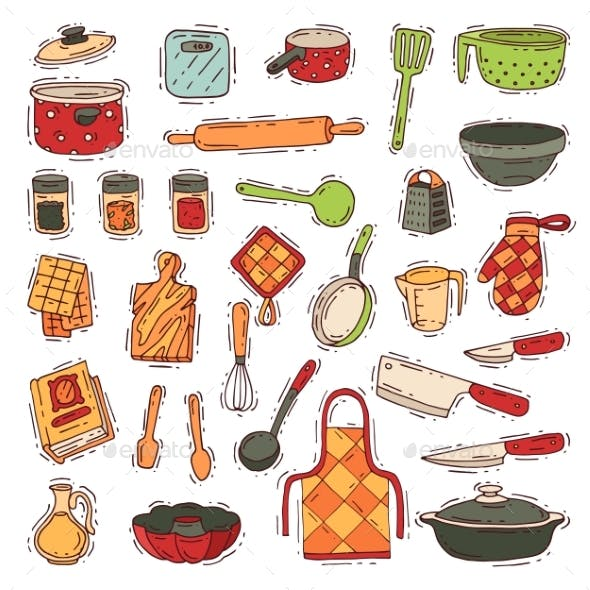 Kitchenware Vector Cookware for Cooking